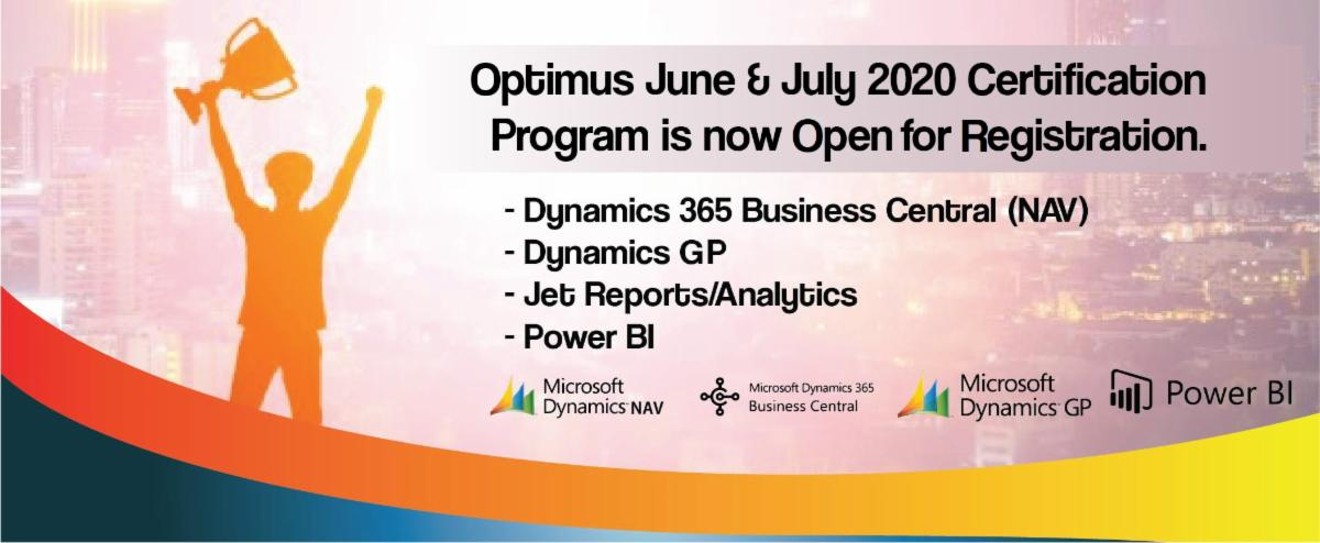 Optimus June & July 2020 Dynamics 365 Business Central, GP, Jet Reports/Analytics, NAV & Microsoft Power BI Free Courses are now Open for Registration